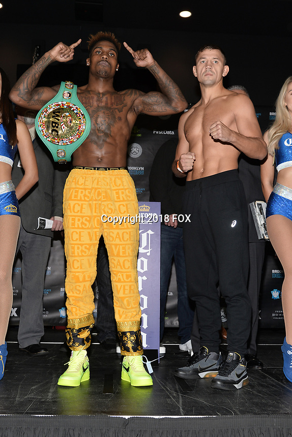 BROOKLYN, NY - DECEMBER 21: (L-R) Boxers Jermall Charlo and Matt Korobov face off at the Premier Boxing Champions official weigh-in for the December 22 Fox PBC Fight Night at the Barclay Center on December 21, 2018 in Brooklyn, New York. (Photo by Anthony Behar/Fox Sports/PictureGroup)