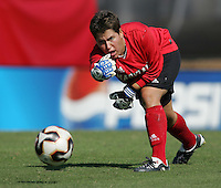 OCT 2, 2005: College Park, MD, USA:  Maryland Terrapins goalkeeper #4 Nikki Resnick rolls the ball out to a teammate while playing the UNC Tarheels at Ludwig Field.  UNC won, 4-0. Mandatory Credit: Photo By Brad Smith (c) Copyright 2005 Brad Smith
