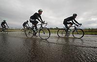 swimming lessons for Bernie Eisel (AUT) & Iljo Keisse (BEL)<br /> <br /> 2013 Tour of Britain<br /> stage 1: Peebles - Drumlanrig Castle, 209km