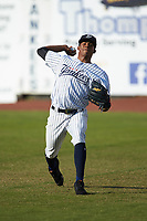 Pulaski Yankees starting pitcher Luis Medina (30) warms up in the outfield prior to the game against the Princeton Rays at Calfee Park on July 14, 2018 in Pulaski, Virginia. The Rays defeated the Yankees 13-1.  (Brian Westerholt/Four Seam Images)