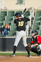 JaCoby Jones (10) of the West Virginia Power at bat against the Kannapolis Intimidators at CMC-Northeast Stadium on May 1, 2014 in Kannapolis, North Carolina.  The Power defeated the Intimidators 5-4.  (Brian Westerholt/Four Seam Images)