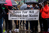 Monday 05 June 2017<br /> Pictured: People holding a sign saying ' Love for all Hatred for none' <br /> Re: A vigil has been held in Swansea City Centre to remember the victims of the recent terror attack in London. Stand up to Racism Swansea have organised the event alongside Swansea Coalition Against War and Swansea People's Assembly.