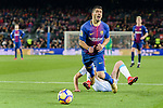 Juan Francisco Moreno Fuertes of Deportivo La Coruna (L) trips up with Luis Suarez of FC Barcelona (R) during the La Liga 2017-18 match between FC Barcelona and Deportivo La Coruna at Camp Nou Stadium on 17 December 2017 in Barcelona, Spain. Photo by Vicens Gimenez / Power Sport Images