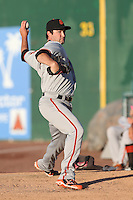 Ryan Bradley #21 of the San Jose Giants warms up in the bullpen before pitching against the Inland Empire 66ers at San Manuel Stadium on May 31, 2014 in San Bernardino, California. Inland Empire defeated San Jose, 4-0. (Larry Goren/Four Seam Images)