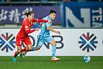 Jiangsu FC Midfielder Yang Xiaotian (R) fights for the ball with Adelaide United Defender Michael Marrone (L) during the AFC Champions League 2017 Group H match between Jiangsu FC (CHN) vs Adelaide United (AUS) at the Nanjing Olympics Sports Center on 01 March 2017 in Nanjing, China. Photo by Marcio Rodrigo Machado / Power Sport Images