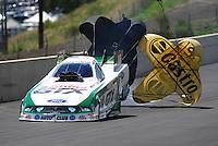 Jul. 24, 2011; Morrison, CO, USA: NHRA funny car driver Mike Neff during the Mile High Nationals at Bandimere Speedway. Mandatory Credit: Mark J. Rebilas-