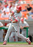 11 June 2006: Bobby Abreu, outfielder for the Philadelphia Phillies, makes contact at the plate during a game against the Washington Nationals at RFK Stadium, in Washington, DC. The Nationals shut out the visiting Phillies 6-0 to take the series three games to one...Mandatory Photo Credit: Ed Wolfstein Photo..