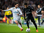Neymar da Silva Santos Junior, Neymar Jr (R), of Paris Saint Germain competes for the ball with Isco Alarcon of Real Madrid during the UEFA Champions League 2017-18 Round of 16 (1st leg) match between Real Madrid vs Paris Saint Germain at Estadio Santiago Bernabeu on February 14 2018 in Madrid, Spain. Photo by Diego Souto / Power Sport Images