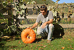 Daniel with heirloom pumpkin