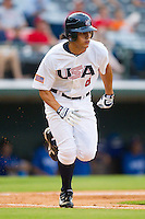 Mikie Mahtook #8 of Team USA hustles down the first base line against Team Korea at Knights Stadium July 16, 2010, in Fort Mill, South Carolina.  Photo by Brian Westerholt / Four Seam Images