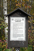 Camping Rules sign located in the White Mountain National Forest of New Hampshire USA.