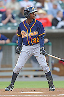 Montgomery Biscuits Tim Beckham #22 awaits a pitch during a game against  the Tennessee Smokies at Smokies Park in Kodak,  Tennessee;  April 13, 2011.  Tennessee defeated Montgomery 12-2.  Photo By Tony Farlow/Four Seam Images