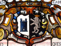 Stained glass coat of arms of the Sforza family at Sforza Castle, Milan, Ital