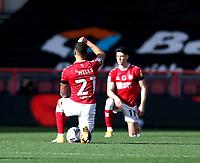 31st October 2020; Ashton Gate Stadium, Bristol, England; English Football League Championship Football, Bristol City versus Norwich; Players take a knee against racism