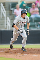 Drew Dosch (10) of the Delmarva Shorebirds hustles down the first base line against the Kannapolis Intimidators at CMC-NorthEast Stadium on July 1, 2014 in Kannapolis, North Carolina.  The Intimidators defeated the Shorebirds 5-2. (Brian Westerholt/Four Seam Images)