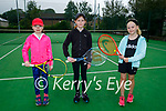 Tralee Tennis Club members attending the Junior Invitational Tennis tournament at the Tralee Tennis Club  on Sunday, l to r: Grace Leonard, Clodagh O'Sullivan and Lily Mae Fisher.