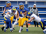 BROOKINGS, SD - MAY 8: Jordan Meachum #8 of the South Dakota State Jackrabbits returns a kickoff against the Delaware Fightin Blue Hens on May 8, 2021 in Brookings, South Dakota. (Photo by Dave Eggen/Inertia)
