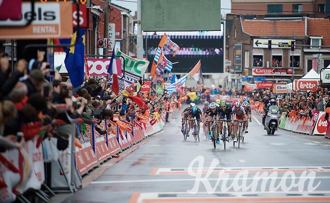 an elite sprint to the finish: Alejandro Valverde (ESP/Movistar) beats Julian Alaphilippe (FRA/Etixx-QuickStep) & Joaquim Rodriguez (ESP/Katusha) to the line<br /> <br /> 101th Liège-Bastogne-Liège 2015