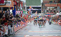 an elite sprint to the finish: Alejandro Valverde (ESP/Movistar) beats Julian Alaphilippe (FRA/Etixx-QuickStep) & Joaquim Rodriguez (ESP/Katusha) to the line<br /> <br /> 101th Liège-Bastogne-Liège 2015