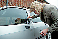 Scenes of crime officer dusting for fingerprints after joyriders stole the vehicle and used it in a police chase. She is using a brush with magnesium powder to highlight the prints. This image may only be used to portray the subject in a positive manner..©shoutpictures.com..john@shoutpictures.com