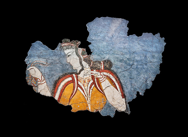 The 'Mycenaean Lady' fresco wall painting depicting a women in a procession, Mycenae, Greece Cat No 11670. National Archaeological Museum, Athens. Black Background<br /> <br /> The 'Mycenaean Lady' fresco depicts a women with a serious and pensive expression of a goddess in a solemn moment during which she accepts a gift of a necklace which she hold tightly in her right hand. she wears a short sleeved bodice over a sheer blouse which deliniates her bosom. She has an  intricate hairstyle and wears rich jewellery.