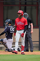 Philadelphia Phillies Jamari Baylor (3) bats during an Extended Spring Training game against the New York Yankees on June 22, 2021 at the Carpenter Complex in Clearwater, Florida. (Mike Janes/Four Seam Images)