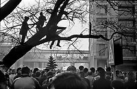 ROMANIA, Bucharest, 22.12.1989<br /> People rise against Ceausescu. Protestors besiege the national television headquarters and try to get in. <br /> © Andrei Pandele / EST&OST
