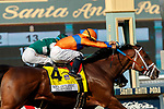 "ARCADIA, CA  SEP 27:  #4 C Z Rocket, ridden by Luis Saez, edges out #3 Flagstaff, ridden by Victor Espinoza, to win the Santa Anita Sprint Championship (Grade ll) ""Win and You're Breeders' Cup Sprint Division on September 27, 2020 at Santa Anita Park in Arcadia, CA.(Photo by Casey Phillips/Eclipse Sportswire/CSM."