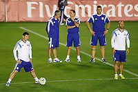 Lionel Messi of Argentina warming up during the training session with Javier Mascherano