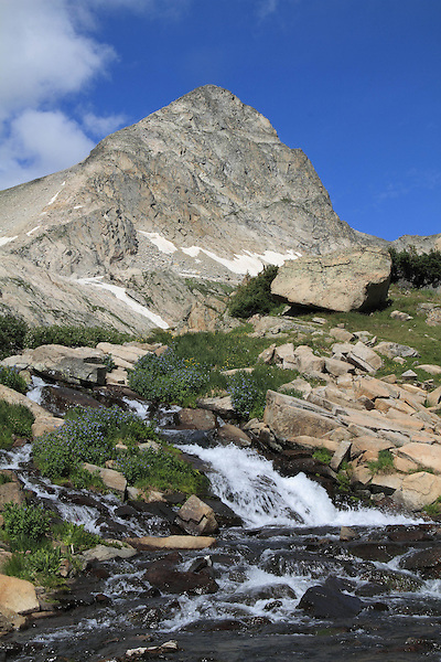 Columbine Waterfalls and Mitchell Creek with Mount Toll, Indian Peaks Wilderness Area, Boulder, Colorado. Private photo tours to Indian Peaks. .  John leads private photo tours throughout Colorado. Year-round Colorado photo tours.