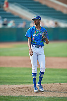 Mark Washington (52) of the Ogden Raptors delivers a pitch to the plate against the Idaho Falls Chukars at Lindquist Field on July 29, 2018 in Ogden, Utah. The Raptors defeated the Chukars 20-19. (Stephen Smith/Four Seam Images)