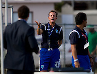 Guatemala head coach Gary Stempel (10) talks to game officials after being ejected from the game during the group stage of the CONCACAF Men's Under 17 Championship at Jarrett Park in Montego Bay, Jamaica. Trinidad & Tobago defeated Guatemala, 1-0.