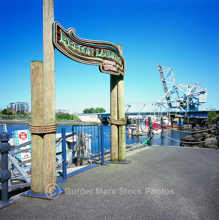 Victoria, BC, Vancouver Island, British Columbia, Canada - Reeson Landing (Gateway to Old Town) and Historic Johnson Street Bridge in background