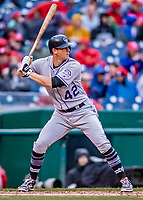 15 April 2018: Colorado Rockies infielder DJ LeMahieu in action against the Washington Nationals at Nationals Park in Washington, DC. All MLB players wore Number 42 to commemorate the life of Jackie Robinson and to celebrate Black Heritage Day in pro baseball. The Rockies edged out the Nationals 6-5 to take the final game of their 4-game series. Mandatory Credit: Ed Wolfstein Photo *** RAW (NEF) Image File Available ***