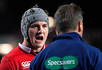 Jonathan Davies talks to asistant referee Jerome Garces during the 2017 DHL Lions Series rugby union match between the NZ All Blacks and British & Irish Lions at Eden Park in Auckland, New Zealand on Saturday, 24 June 2017. Photo: Dave Lintott / lintottphoto.co.nz