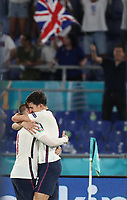 3rd July 2021, Stadio Olimpico, Rome, Italy;  Euro 2020 Football Championships, England versus Ukraine quarter final; Harry Maguire of England celebrates with teammate Luke Shaw as he scores for 2-0