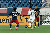 FOXBOROUGH, MA - JULY 9: Kobe Franklin #58 of Toronto FC II passes the ball during a game between Toronto FC II and New England Revolution II at Gillette Stadium on July 9, 2021 in Foxborough, Massachusetts.