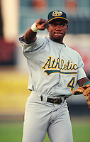 1996: Miguel Tejada of the Modesto A's during game at Maverick Stadium in Adelanto,CA.  Photo by Larry Goren/Four Seam Images