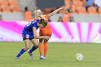 Houston, TX - Sunday Sept. 25, 2016: Rumi Utsugi, Denise O'Sullivan during a regular season National Women's Soccer League (NWSL) match between the Houston Dash and the Seattle Reign FC at BBVA Compass Stadium.