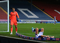 3rd October 2020; Ewood Park, Blackburn, Lancashire, England; English Football League Championship Football, Blackburn Rovers versus Cardiff City; Sam Gallagher of Blackburn Rovers crashes off the pitch after stretching for a cross