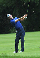11th July 2021, Silvis, IL, USA; Alex Smalley hits his second shot on the #6 fairway during the final round of the John Deere Classic on July 11, 2021, at TPC Deere Run, Silvis, IL.