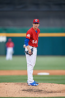 Buffalo Bisons starting pitcher Ryan Borucki (54) looks in for the sign during a game against the Scranton/Wilkes-Barre RailRiders on May 18, 2018 at Coca-Cola Field in Buffalo, New York.  Buffalo defeated Scranton 5-1.  (Mike Janes/Four Seam Images)