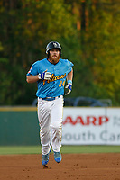 Myrtle Beach Pelicans infielder Jesse Hodges (24) runs the bases during a game against the Wilmington Blue Rocks at Ticketreturn Field at Pelicans Ballpark on April 26, 2017 in Myrtle Beach, South Carolina. Myrtle Beach defeated Wilmington 7-3. (Robert Gurganus/Four Seam Images)