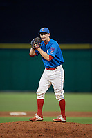 Clearwater Threshers relief pitcher Grant Dyer (16) gets ready to deliver a pitch during a game against the St. Lucie Mets on August 11, 2018 at Spectrum Field in Clearwater, Florida.  St. Lucie defeated Clearwater 11-0.  (Mike Janes/Four Seam Images)