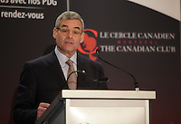 January 20,2014 -  Pierre Boivin, O.C., President & CEO of Claridge Inc.deliver a speech to the Canadian Club of Montreal.<br /> <br /> Photo (c) COPYRIGHT 2014, Pierre Roussel - Images Distribution