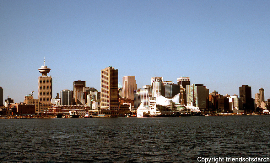 Vancouver, B.C. : Downtown Skyline from approaching North Van. Ferry. Photo July, 1992.