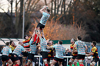 Tom Baldwin of Blackheath Rugby claims the line-out during the English National League match between Richmond and Blackheath  at Richmond Athletic Ground, Richmond, United Kingdom on 4 January 2020. Photo by Carlton Myrie.