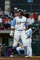 Myrtle Beach Pelicans outfielder Jake Skole #7 at bat during a game against the Wilmington Blue Rocks at Tickerreturn.com Field at Pelicans Ballpark on April 8, 2012 in Myrtle Beach, South Carolina. Wilmington defeated Myrtle Beach by the score of 3-2. (Robert Gurganus/Four Seam Images)