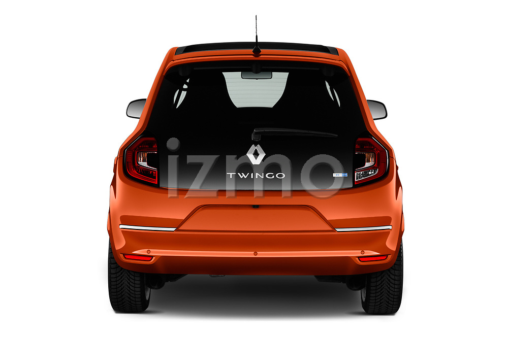 Straight rear view of 2021 Renault Twingo-Electric Vibes 5 Door Hatchback Rear View  stock images