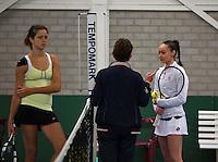 Rotterdam, The Netherlands, 07.03.2014. NOJK ,National Indoor Juniors Championships of 2014, Romy Kerkhove (NED)  Barbara Huyskes (NED)<br /> Photo:Tennisimages/Henk Koster
